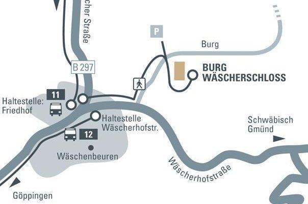 Anfahrtsskizze zu Burg Wäscherschloss; Entwurf: Staatliche Schlösser und Gärten Baden-Württemberg, JUNG:Kommunikation