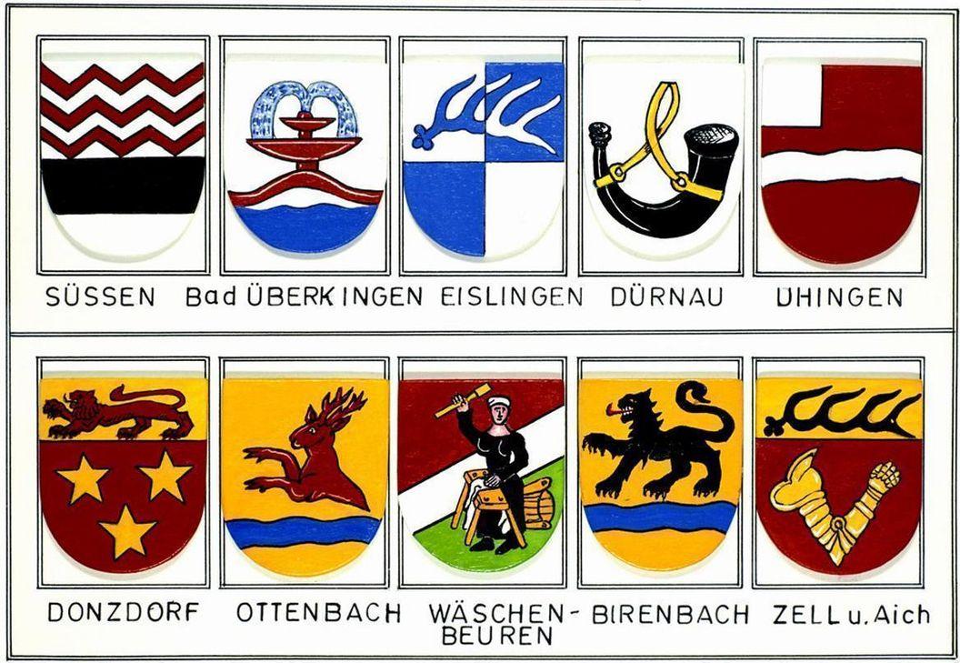 Wappen der Städte und Dörfer in der Umgebung von Burg Wäscherschloss